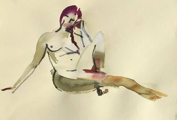 Nude painting- Original watercolor painting of Nude #1452 by Gretchen Kelly