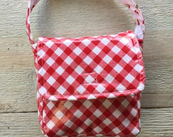 Lunch Box, Lunch Pale, Red White Plaid, Cherry, Farmhouse, Insulated Lunch Box, Laminated Cotton, BPA Free, Eco friendly.
