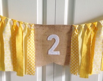 Lemonade Stand You are my Sunshine High Chair Banner -Birthday Banner -Yellow -Photo Prop -Cake Smash -1st Birthday -Rag Tie Garland Burlap