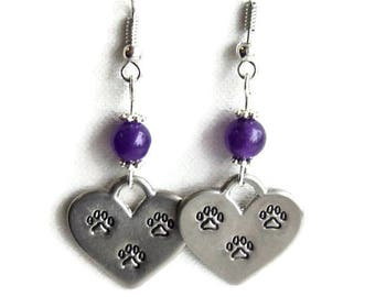 Earrings, Antique Silver with Amethyst Gemstone Beads, Paw Print Hearts, Pet Lover Earrings, Gift for her