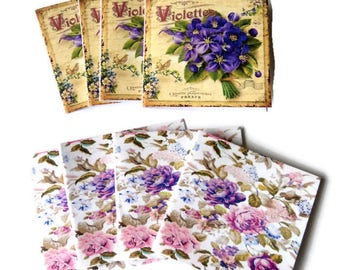 8  Mini Note Cards, Small Floral note cards, 2 sizes and designs, Purple pink Roses Violets,  Blank inside, Takuniquedesigns