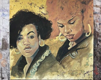 Hand painted portraits of Salt n Pepa- unframed