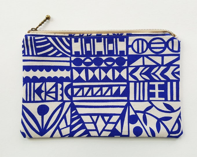 Zippered Pouch: Organic Screenprinted Fabric in Royal Blue