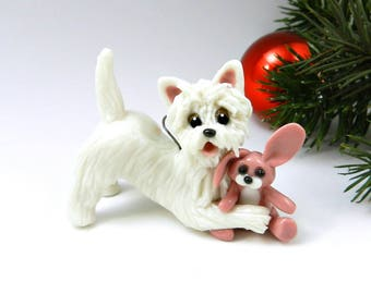 Westie West Highland White Terrier Christmas Ornament Figurine Pink Bunny Toy Porcelain