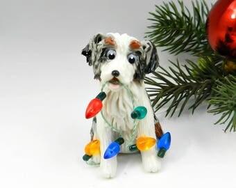 Australian Shepherd Blue Merle Christmas Ornament Figurine Lights Porcelain