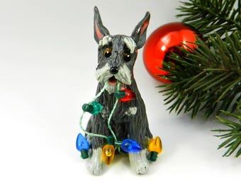 Schnauzer Dog Salt Pepper Christmas Ornament Figurine Porcelain OOAK Lights
