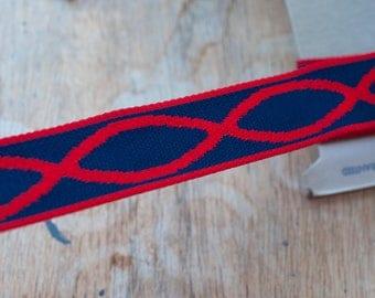 1.75 yards Woven Geometric  - Vintage Fabric Trim New Old Stock Mod BOHO Bohemian Ovals