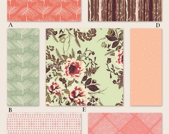 Coral, Mint Green and Peach Girl Floral Custom Crib Baby Bedding Set - The Forest Floor Collection