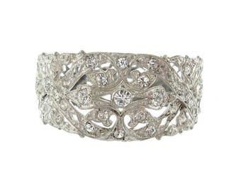 Antique Art Deco Bangle Bracelet, Vintage Rhinestone 1920 Wide Cuff, Antique Rhinestone Wedding Jewelry, Art Deco Jewelry, Rhinestone Bangle