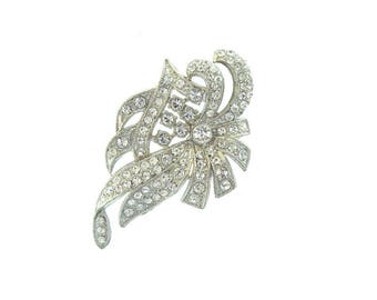 Art Deco Rhinestone Dress Clip, Antique Crystal Brooch Pin, Floral Motif, 1920s Art Deco Jewelry, Wedding Jewelry