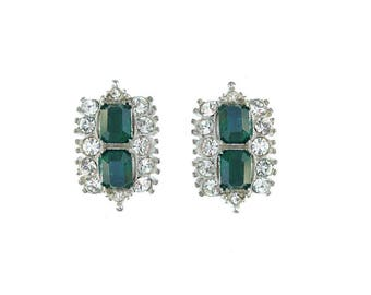 Vintage Emerald Earrings, Designer Bogoff Fine Jewelry, 1930 Rhinestone Clip On Crystal Earrings, Designer Statement Jewelry