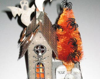 Halloween Glitter House with Tea Light - Haunted Brownstone with Ghosts, Tomb Stones, Spider Tree