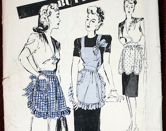 """SAVE - ON SALE Vintage apron pattern from Butterick (#2813) From the 30s ; Size Ladies' Small which is a 12-14, Bust size 30-32""""; Unprinted;"""