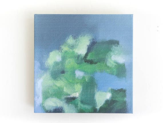 Small Abstract Art - Canvas Print Blue Abstract Landscape Painting