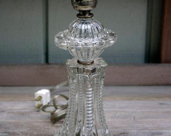Vintage Pressed Clear Glass Table Lamp