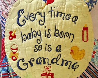 "Quited 12"" Pillow . . . Recycled Vintage Quilt Every Time A Baby Is Born. . . . Great Gift For A New Grandma"