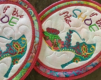 Quilted  Mug Rugs. . . If the Shoe Fits . . . Embroidered SHOES Mug Rugs Set of 2 . . .