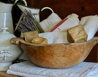 Lovely French Farmhouse........Old French Hand Made Wood Dough Bowl