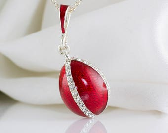 Jewelry Necklace, Enamel Jewelry Guilloche Pendant Tenderness, Sterling Silver Red Enameled Egg Pendant w Swarovski Crystals, Gift For Her