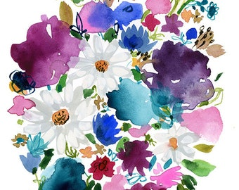 Daisies in Purple Bouquet Archival Print