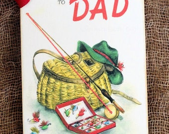 To Dad Fishing Pole Tackle Box Lures Gift or Scrapbook Tags or Magnet #322