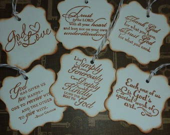 Christian faith gift tags, religious, inspirational message  Bible verse  hand stamped - set of 6