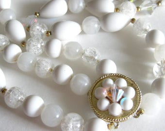 Double Stranded Necklace White Vintage Plastic Beads Glass AB