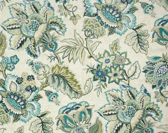 "Blue Green Window Curtains, Jacobean Floral Drapery Panels, Pretty Feminine Curtains, Trendy Home Decor, One Pair Rod-Pocket 50""W"