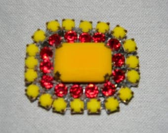 Elegant Antique Rhinestone Button or Pendent.in Red and Yellow