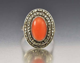 Art Deco Marcasite Coral Ring, Silver Marcasite Ring, Art Deco Ring, Antique Jewelry, Vintage Coral Bohemian Jewelry, Statement Ring