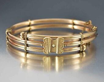 Antique Victorian Pearl Gold Bracelet | Pearl Bracelet | Engraved Hinged Bracelet | Gold Filled Bangle Bracelet | Antique Bracelet