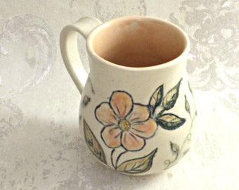 Peach and Cream Mug with Floral Design