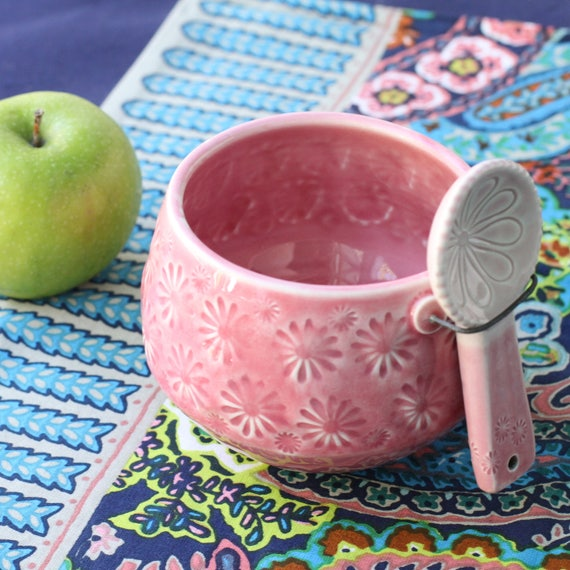 pink salt cellar with spoon