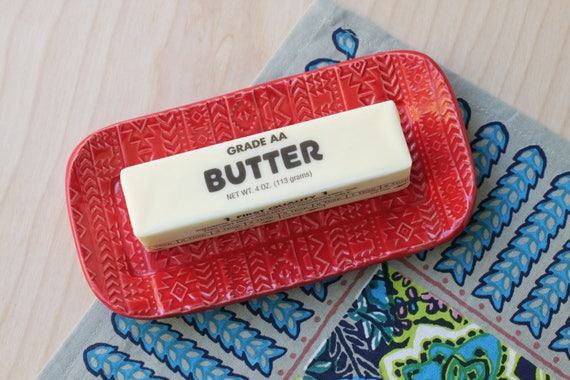 red butter dish/ small tray