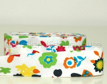 FINAL CLEARANCE SALE Bias tape Forest Fun in White-- 2 meters