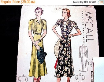 on SALE 25% Off 1930s Dress Pattern McCalls Misses Size 16 Bust 34 Womens Dress Vintage Sewing Pattern