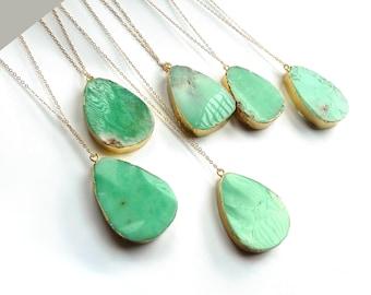 Chrysoprase Necklace Natural Genuine Green Gemstone Pendant Gold Layering