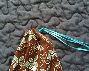 Reusable Gift Bag - Handmade Cotton Drawstring Pouch - Turquoise White Brown Gift Bag - Adult Reusable Gift Bag