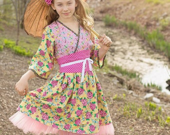 Girls Kimono Dress - Kawaii Dress - Baby Girl Dress - Toddler Girl Dress - Preteen Dress - Toddler Girl Outfits - Pink Dress  12 mos/14 yrs