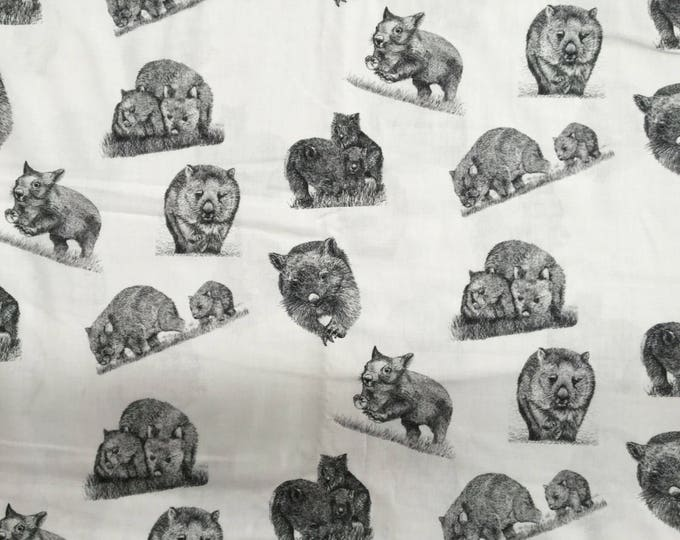 Wild Wombats  fabric fat 1/4 collection by Cindy Watkins Back & White original design