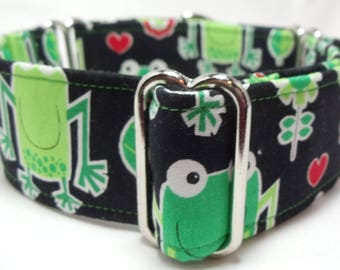 Frogs on Black Greyhound, Whippet, Galgo, Pit Bull, Dog Sighthound Martingale Collar