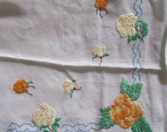Smelling of Roses - Pretty Vintage Hand Embroidered Roses Table Cloth