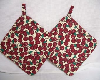 Cherries, Insulated Pot Holders, Set of 2, Hot Pad, Trivet, Potholder, For the Kitchen, For the Cook