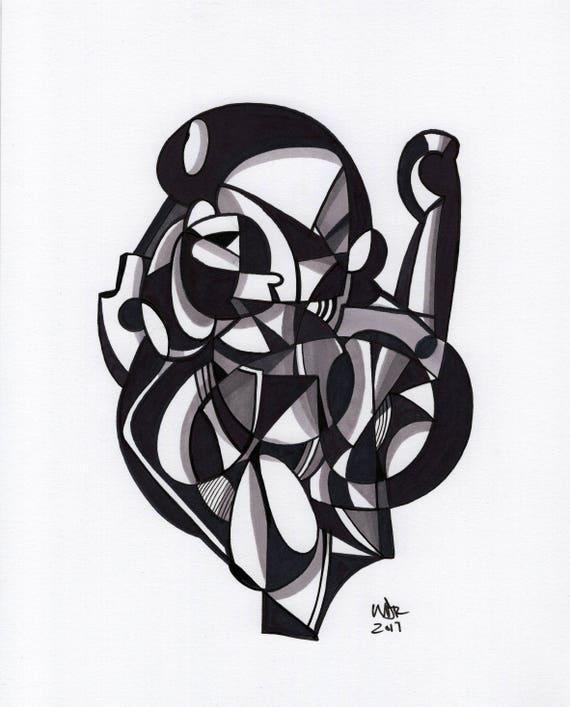 "Hablo - Original mixed media Illustration on Bristol - 8"" x 10"""
