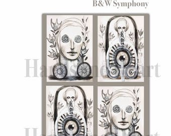 Black and White Symphony Digital Collage Sheet Instant Download