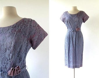 20% off sale Vintage 50s Dress | Purple Lace Dress | 1950s Party Dress | XS S