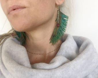 Peacock Sword Feather Garnet Labradorite Gemstones Earrings