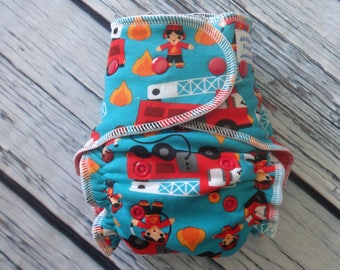 One Size Stay Dry Overnight Fitted Cloth Diaper in Firetrucks by Soothe Baby