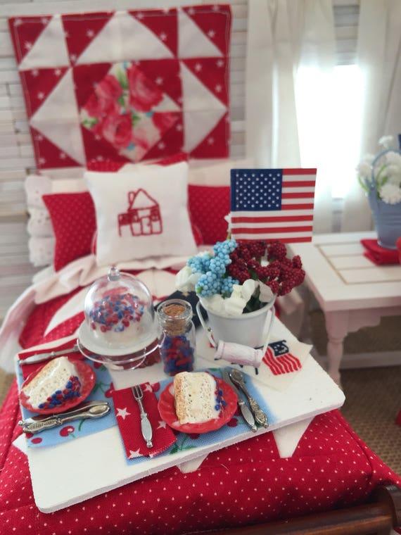 Miniature Dollhouse Patriotic Cake Dessert Board 1:12 scale