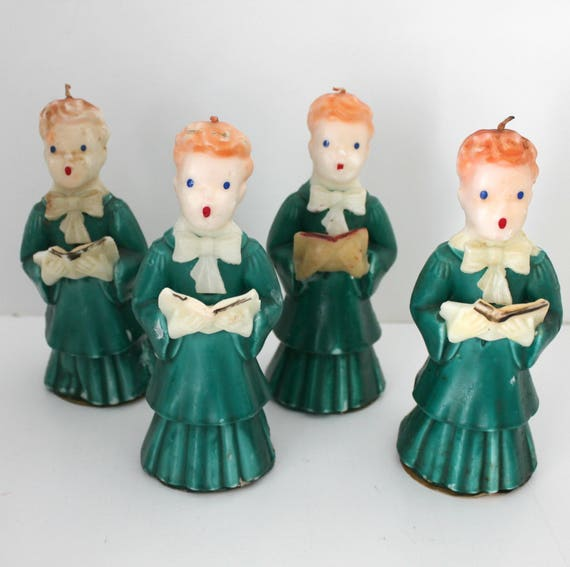 "4 Choir Boy Gurley Candles, Large 7"" Tall, Vintage Christmas Green Robed Caroler"